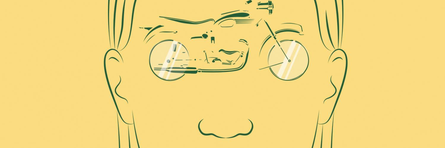The Monster in the Hall promotional artwork. A green line drawing of a young woman's face with a motorcycle in the area where her eyes would appear, with the wheels acting as glasses.