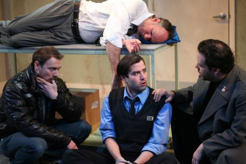 Brian McCann, Jered McLenigan, Kevin Meehan, and Jared Michael Delaney in <em>Gagarin Way</em> Photo: Katie Reing