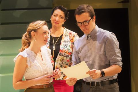 Emilie Krause, Eleni Delopoulos, and Adam Hammet in Radiant Vermin. Photo: Katie Reing