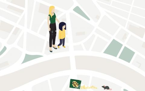 Box Clever promotional artwork. A young mother and her daughter stand lost on an oversized map of London.